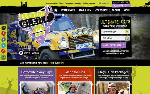 Screenshot of actionglen.com - Crieff Activity Centre - Offering a wide range of outdoor activities - captured May 28, 2017