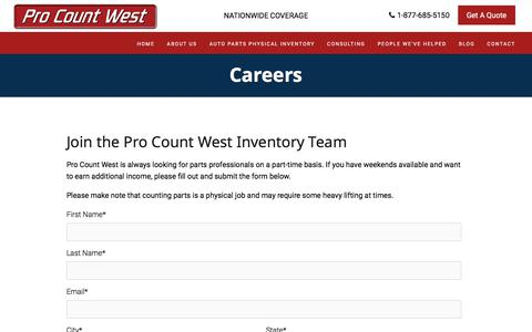 Screenshot of Jobs Page procountwest.com - Pro Count West | Auto Parts Inventory Careers - captured Sept. 6, 2017