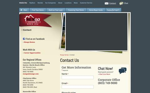Screenshot of Contact Page mungo.com - Contact Mungo Homes - captured Sept. 18, 2014