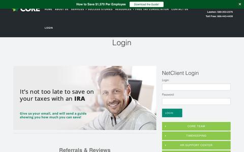 Screenshot of Login Page coregroupus.com - Tulsa Business Services | Oklahoma City Business Services | Lawton Business Services - captured Aug. 26, 2017