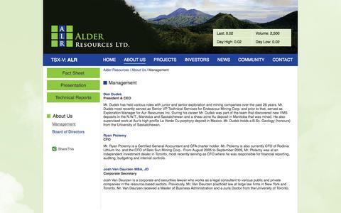 Screenshot of About Page Team Page alderresources.ca - Alder Resources Ltd. - About Us - Management - captured Oct. 23, 2014