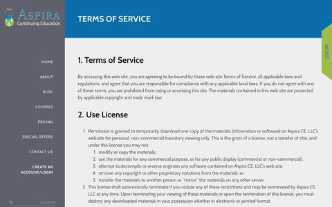 Screenshot of Terms Page aspirace.com - Terms of Service - Online CEUs – Aspira Continuing Education - captured Nov. 21, 2016