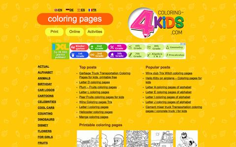 Screenshot of Home Page coloring-4kids.com - Free Coloring pages for kids (Online and Printables) Activities on Coloring-4kids.com | Best coloring books for kids - captured Sept. 7, 2015