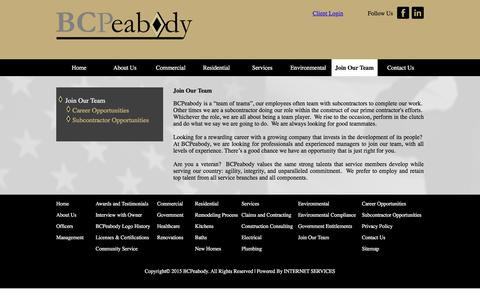 Screenshot of Signup Page bcpeabody.com - Join Our Team - captured July 31, 2018