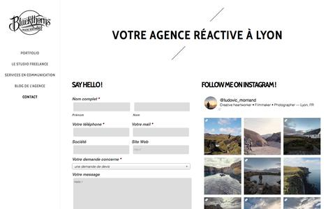 Screenshot of Contact Page blackthornsdesign.com - Agence réactive Lyon - Contactez votre spécialiste en communication visuelle - captured Oct. 10, 2017