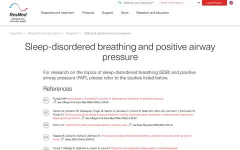 Research articles on SDB and positive airway pressure | ResMed