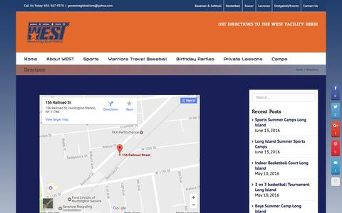 Screenshot of Maps & Directions Page gowestsports.com - Directions - Winner's Edge Sports Training (WEST) - captured May 21, 2017