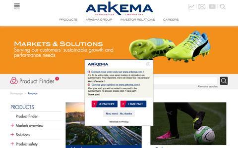 Screenshot of Products Page arkema.com - Arkema.com - Products - captured Nov. 21, 2016