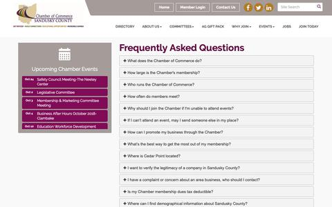 Screenshot of FAQ Page scchamber.org - FAQ - Chamber of Commerce of Sandusky County , OH - captured Sept. 27, 2018