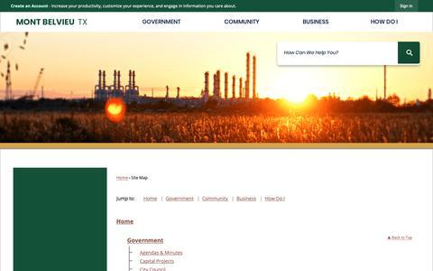 Screenshot of Site Map Page montbelvieu.net - Mont Belvieu, TX - Official Website - captured Dec. 14, 2018