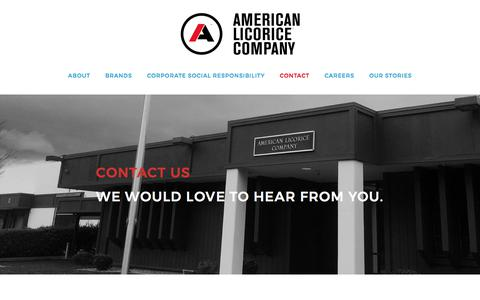 Screenshot of Contact Page americanlicorice.com - Contact Us - captured July 5, 2017