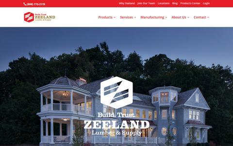 Screenshot of Home Page zeelandlumber.com - Zeeland Lumber & Supply - Windows, Cabinets, Roofing, Decking and More - captured Nov. 12, 2019