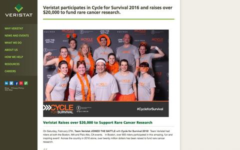 Screenshot of veristat.com - Veristat participates in Cycle for Survival 2016 and raises over $20,000 to fund rare cancer research. - Veristat - captured March 20, 2016