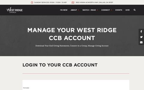 Screenshot of Login Page westridge.com - CCB Account - West Ridge Church - captured Oct. 19, 2018