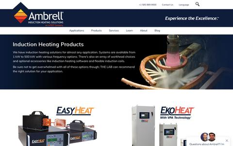 Screenshot of Products Page ambrell.com - Induction Heating Systems   Induction Heaters & Accessories - captured Aug. 9, 2019