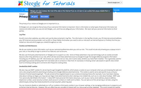 Screenshot of Privacy Page steegle.com - Privacy Policy for Steegle.com - Google Apps Reseller & Google Sites Help - steegle.com - captured Sept. 23, 2014