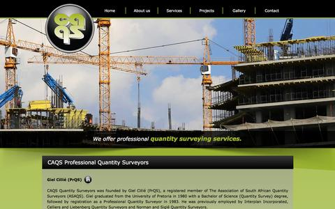 Screenshot of About Page caqs.co.za - Professional Quantity Surveyors | ASAQS | JBCC | SACQSP - captured July 10, 2016