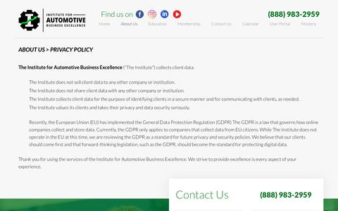 Screenshot of Privacy Page iforabe.com - Privacy Policy | Institute for Automotive Business Excellence - captured Oct. 12, 2018