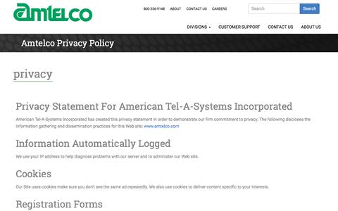 Screenshot of Privacy Page amtelco.com - Privacy Policy | Amtelco - captured July 30, 2018