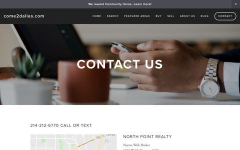 Screenshot of Contact Page come2dallas.com - Contact — come2dallas.com - captured Nov. 9, 2018