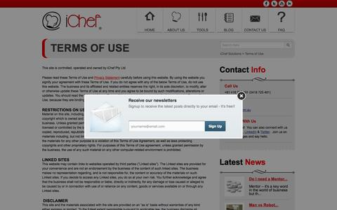 Screenshot of Terms Page ichef.com.au - Terms of Use | iChef Solutions - captured Sept. 30, 2014