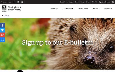 Screenshot of Signup Page bbcwildlife.org.uk - Sign Up | The Wildlife Trust for Birmingham and the Black Country - captured Oct. 18, 2018