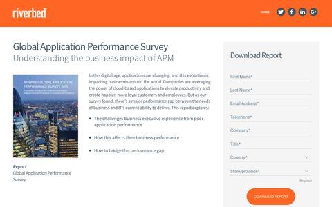 Screenshot of Landing Page riverbed.com - Global Application Performance Survey - captured April 12, 2016