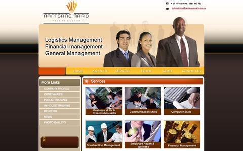Screenshot of Services Page rantsanemario.co.za - Rantsanemario offer a wide range of training courses around South Africa - captured Oct. 27, 2014
