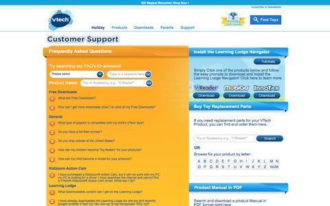 Screenshot of Support Page vtechkids.com - VTech Customer Support | VTech Kids Contact Details - captured Nov. 9, 2016