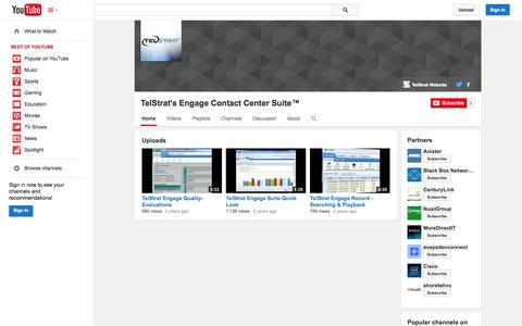 Screenshot of YouTube Page youtube.com - TelStrat's Engage Contact Center Suite™  - YouTube - captured Oct. 26, 2014