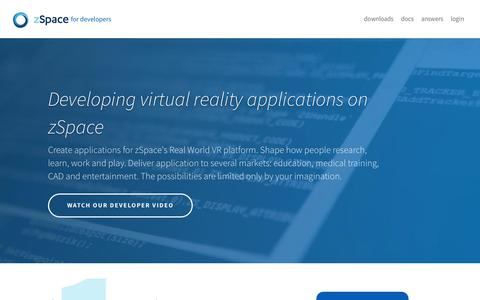 Screenshot of Developers Page zspace.com - Developing virtual reality applications on zSpace - captured Oct. 25, 2017