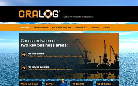 Screenshot of Home Page cralog.com - Cralog — Lifesaving equipment, cranes and lifting appliances - captured Oct. 3, 2014