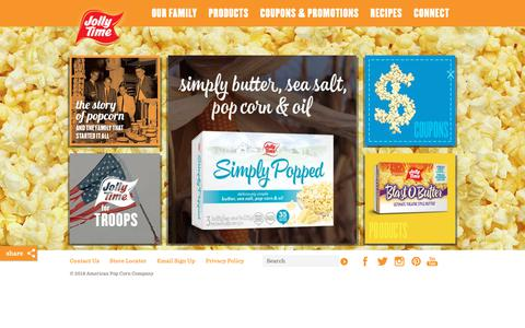 Screenshot of Home Page jollytime.com - JOLLY TIME Pop Corn | 100 Years of Poppin' Fun - captured Dec. 12, 2018