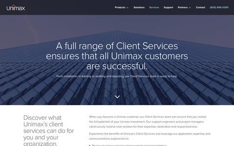 Screenshot of Services Page unimax.com - Services - Unimax - UC Management Software Suite - captured June 11, 2017