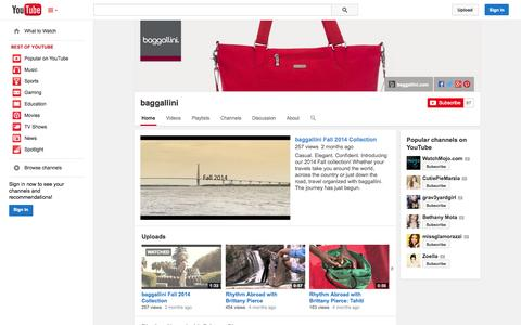 Screenshot of YouTube Page youtube.com - baggallini  - YouTube - captured Oct. 23, 2014