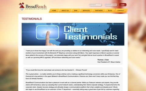 Screenshot of Testimonials Page broadrch.com - Testimonials - captured Oct. 6, 2018