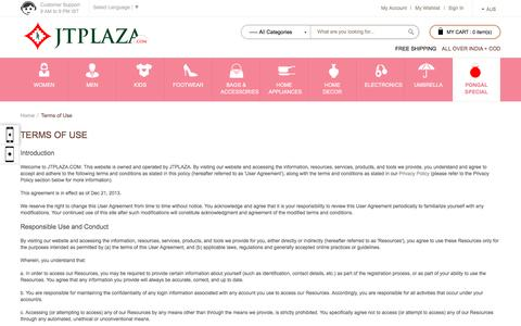 Screenshot of Terms Page jtplaza.com - Terms of Use - captured Jan. 17, 2016