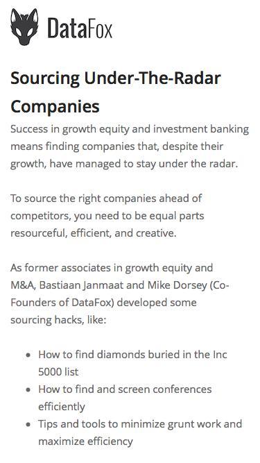 Screenshot of Landing Page  datafox.com - Sourcing Under-The-Radar Companies