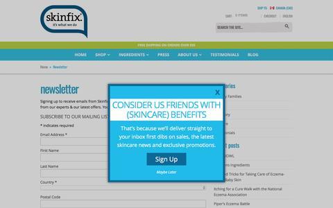 Screenshot of Signup Page skinfixinc.com - Newsletter - Skinfix Inc. - captured May 28, 2017