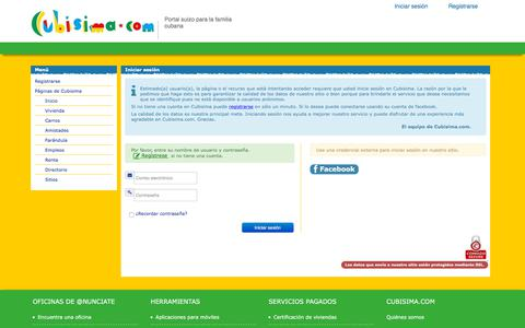 Screenshot of Login Page cubisima.com - Iniciar sesión - captured Sept. 22, 2018