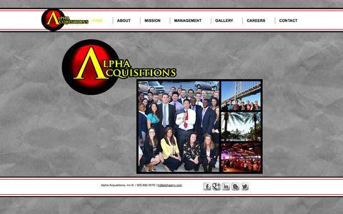 Screenshot of Home Page alphaainc.com - Alpha Acquisitions - captured Oct. 4, 2014