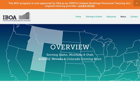 Screenshot of About Page intboa.org - Overview — Intermountain Building Operators Association (IBOA) - captured March 9, 2016