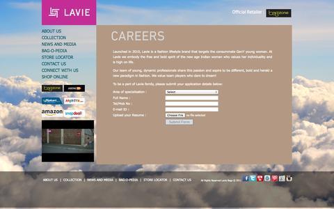 Screenshot of Jobs Page lavieaccessories.com - Designer Handbags for Women | Ladies Fashion Bags | Bag Suppliers | Leather Bags – LavieAccessories.com - captured Oct. 31, 2014
