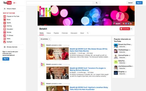 Screenshot of YouTube Page youtube.com - Betakit  - YouTube - captured Oct. 23, 2014