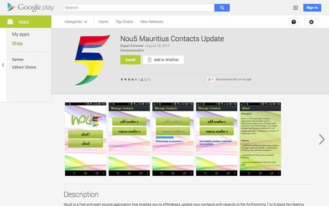 Screenshot of Android App Page google.com - Nou5 Mauritius Contacts Update - Android Apps on Google Play - captured Nov. 3, 2014