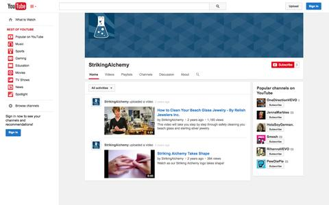 Screenshot of YouTube Page youtube.com - StrikingAlchemy  - YouTube - captured Oct. 25, 2014