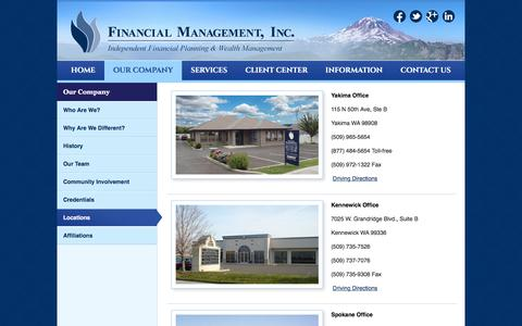 Screenshot of Locations Page fmiwealth.net - Locations - Financial Management, Inc - captured Nov. 25, 2016