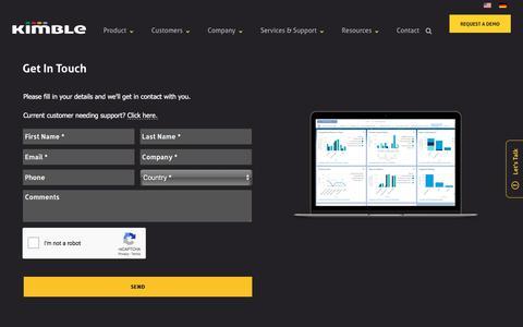 Screenshot of Contact Page kimbleapps.com - Contact Us | Kimble Applications - captured July 23, 2019