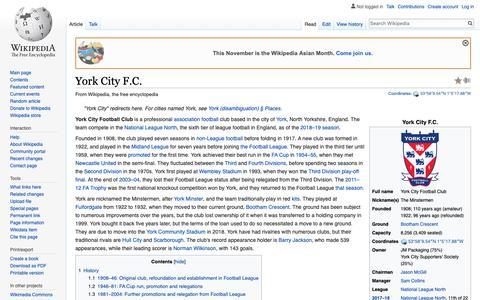 Screenshot of Team Page wikipedia.org - York City F.C. - Wikipedia - captured Nov. 17, 2018