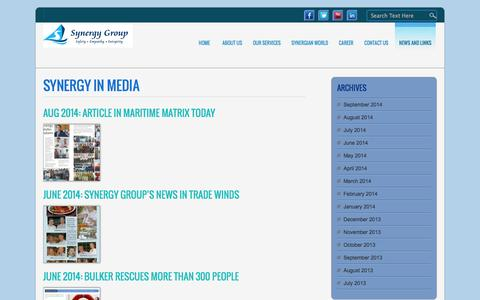 Screenshot of Press Page synergymarinegroup.com - Synergy - captured Sept. 30, 2014